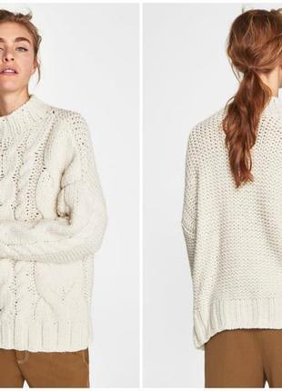 5a0b725d3f35 Роскошный объемный вязаный свитер - пуловер кремового цвета zara ...