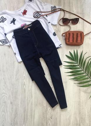 Темно синие джинсы zara с высокой посадкой / скинни / леггинсы / штаны
