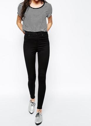 Черные скинни джинсы с высокой талией cropp
