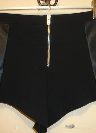 Трикотажные шорты с вставками под кожу- topshop-  turkey