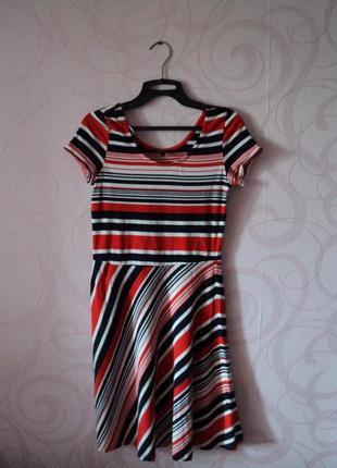 Платье в полоску, короткое платье на лето, трикотажное платье-футболка, спортивное платье