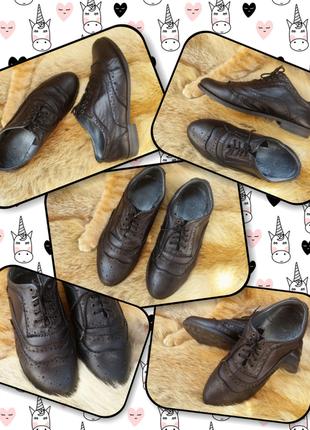 Черные кожаные оксфорды туфли