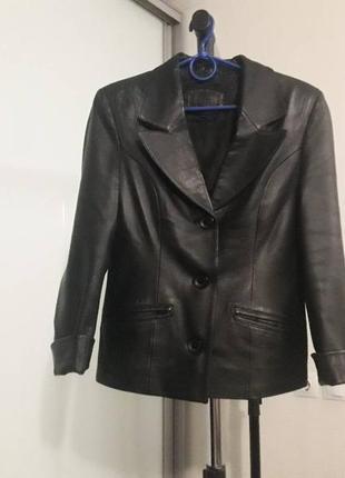 Куртка, пиджак кожаная, размер s, xs