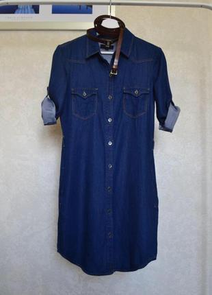 Джинсовое летнее платье рубашка oodji (коттон 100%) xs/s