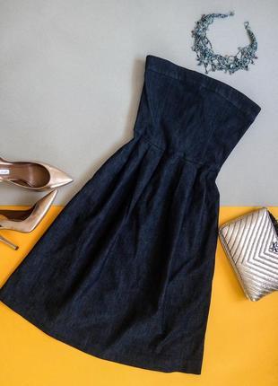 Стильное джинсовое платье,сарафан с открытыми плечами