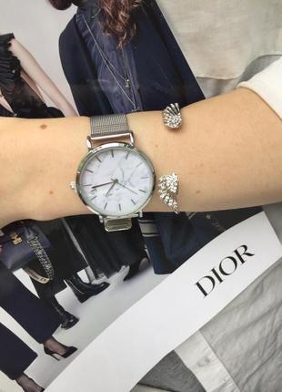 Наручные женские часы нержавеющая сталь под серебро мрамор