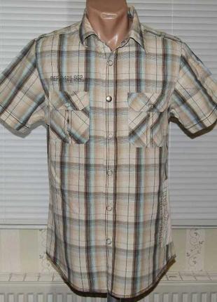 Рубашка бежевая в клетку на кнопках