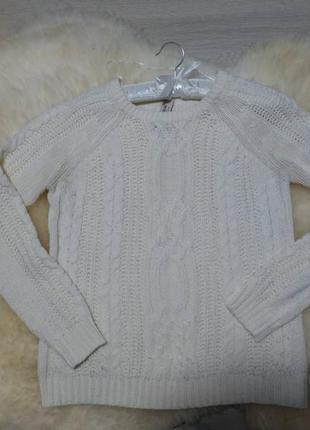 Свитер белый/ свитер вязаный/ стивер теплый/ кофта