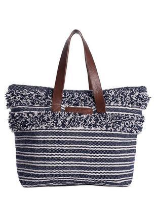 Сине-белая полосатая хлопковая пляжная сумка шопер шоппер с кожаными ручками от brakeburn