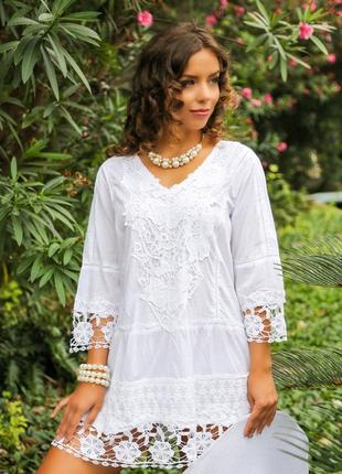 Шикарная белая туника тм fresh cotton новая коллекция 20181