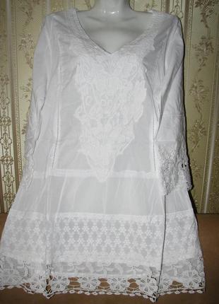 Шикарная белая туника тм fresh cotton новая коллекция 20184