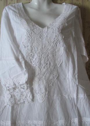 Шикарная белая туника тм fresh cotton новая коллекция 20185
