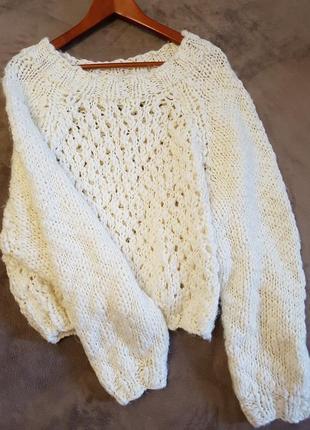H&m свитер рыбака крупной вязки очень объемные рукава s