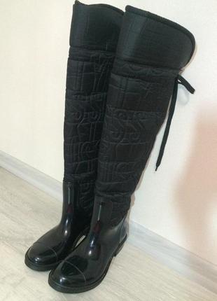 Сапожки резиновые черные, ботфорты.