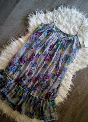 Шёлковое воздушное платье-сарафана на тонких бретелях zara m-s