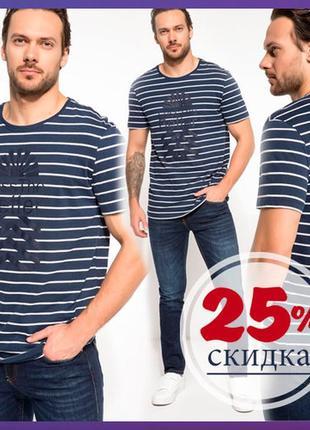 Мужская футболка синяя de facto / де факто в белую полоску less the better