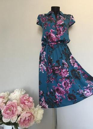Платье рубашка из натуральной ткани цветочный принт