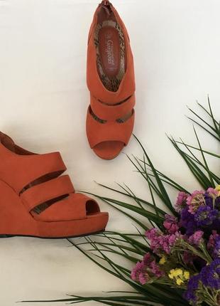 Крутые босоножки на танкетке апельсинового цвета от new look🍑 new look
