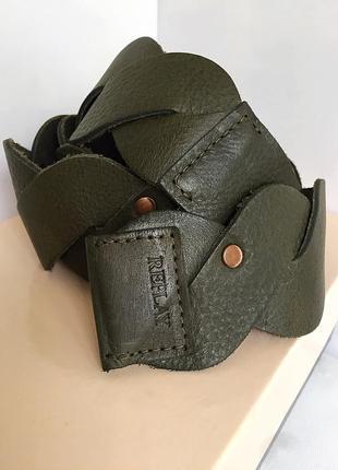 Ремень пояс кожаный, плетёный, широкий, replay.