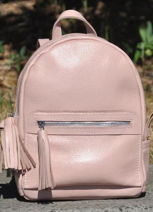 Стильный кожаный пудровый городской рюкзак разные цвета