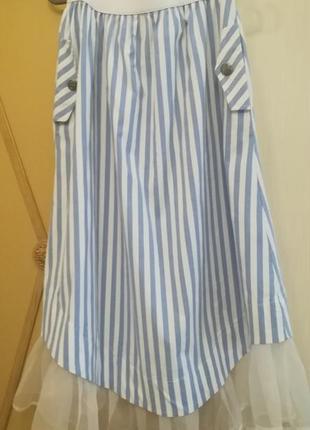 Прекрасная юбка с оригинальной оборкой из органзы