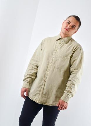 Ermenegildo zegna брендовая светло-бежевая винтажная рубашка, сорочка