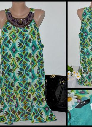 Брендовое шифоновое платье миди f&f