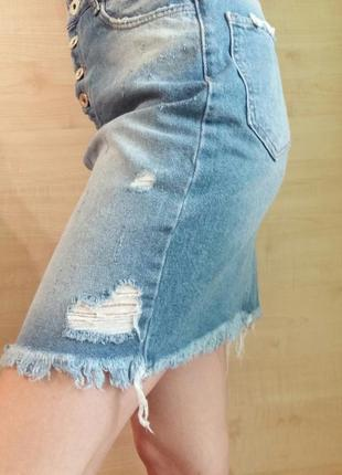 Юбка джинсовая с рванкой бахромой супер качество