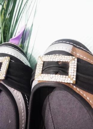 36 р /23'5см новые интересные туфли - балетки с декоративной пряжкой2
