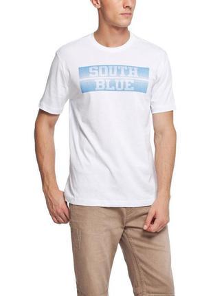 Мужская футболка lc waikiki /лс вайкики с надписью на груди south blue- фирменная турция2 фото