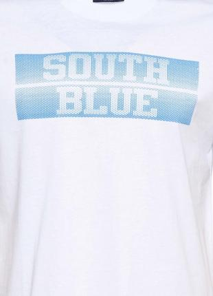 Мужская футболка lc waikiki /лс вайкики с надписью на груди south blue- фирменная турция4 фото