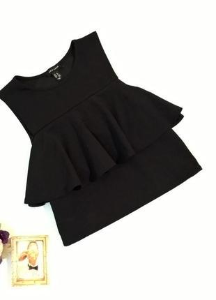 Блуза топ с воланом неопрен черная
