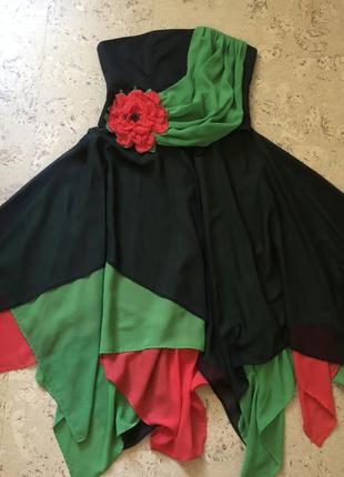 Платье корсет и юбка с маками вечернее л-хл