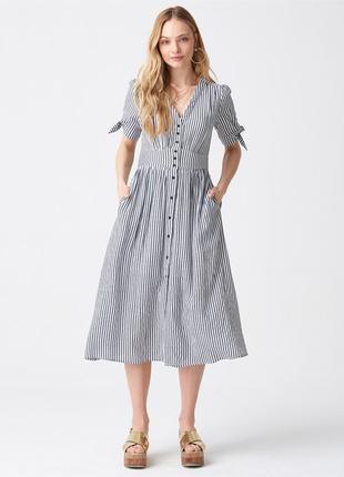Платье в полоску хлопок миди с пуговицами на пуговицах с завязками на рукавах v вырез