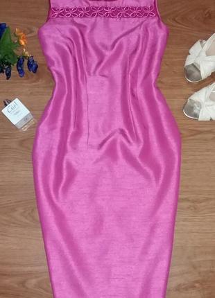 Нежное платье футляр со вставкой сеточки и цветами jacques vert размер uk 10 eur 36