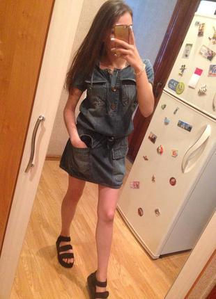 Джинсовый сарафан, джинсовое платье с капюшоном