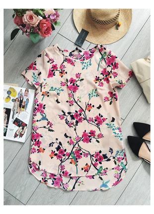 Блуза розовая в цветочный принт от new look