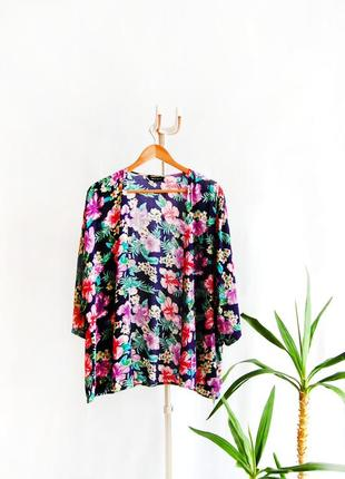 Кимоно накидка кардиган new look в яркие большие цветы