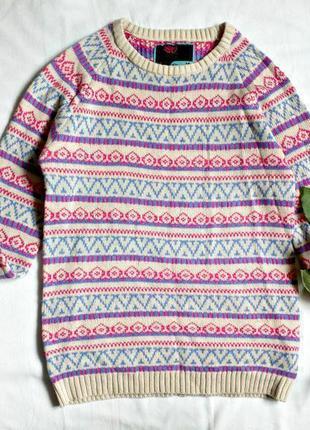Стильный теплый свитер в орнамент 10(s-m)