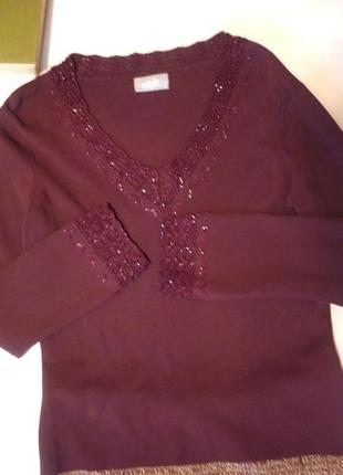 Очень красивый свитер с бисер кружево марсала бордо wallis люкс