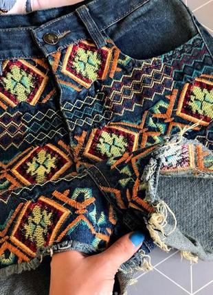 Шорты asos размер s xs джинсовые на завышенной талии синие с узором