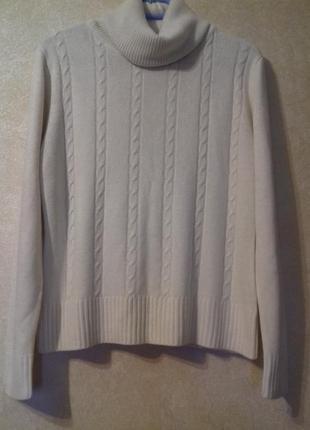 Белый свитер с воротником-хомут н&м