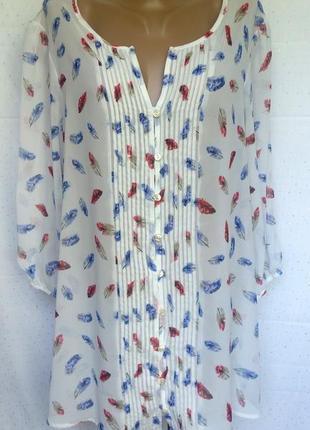 """Роскошная шифоновая рубашка с принтом """"перышки"""" от moda at george (пог-61см)"""