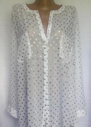 Стильная шифоновая рубашка батал от marks&spencer (пог-68см)