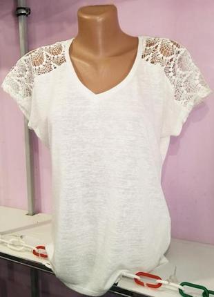 Белая блуза с красивым кружевом от nine uk 14 / 42 / л