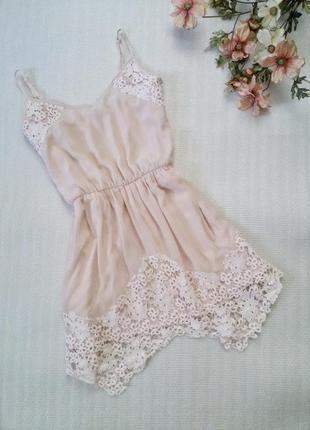 Платье летнее сарафан пудровый розовый с кружевом bershka