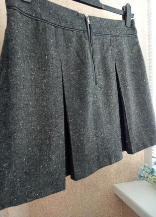 Шерстяная юбка мини с молнией и складочками