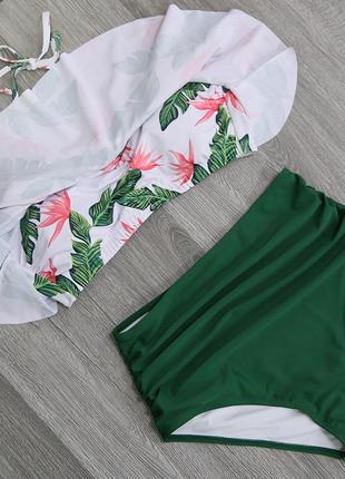 Зеленый купальник с воланом, высокая талия3 фото