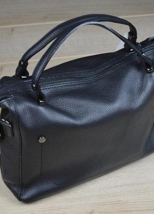 b7a86c1d1583 Итальянская (натуральная кожа) черная кожаная сумка vera pelle, италия