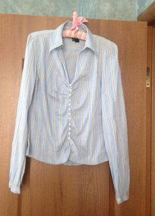 Комфортная блуза рубашка  в полоску от zara .14 xl. хит продаж!